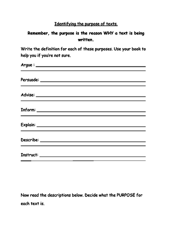 Identifying purpose worksheet or cover lesson