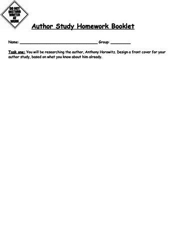 Anthony Horowitz author study homework booklet