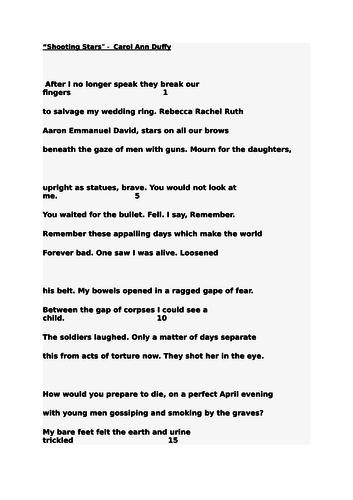 Shooting Stars - Carol Anne Duffy Resources