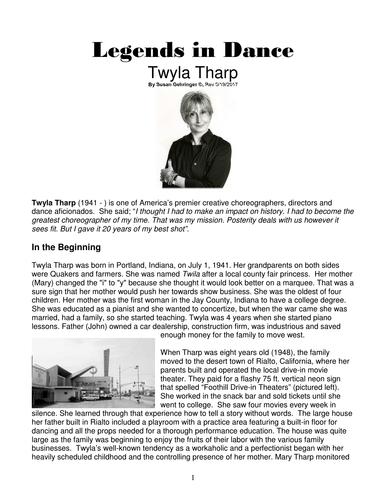 Dance History-Legends in Dance-Twyla Tharp