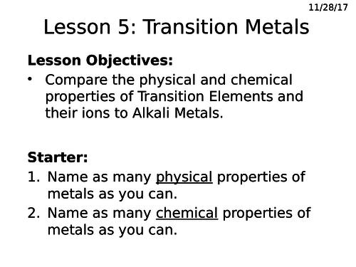 GCSE (1-9) transition metals