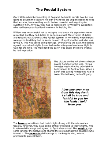 William the Conqueror: The Feudal System