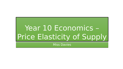 Elasticity of Supply AQA GCSE