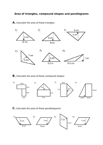 Area Of Triangles Parallelograms Compound Shapes By