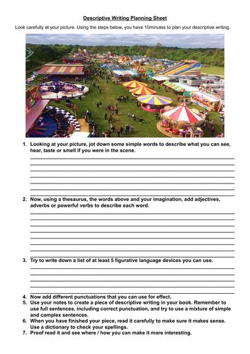 Step by step creative writing work sheet