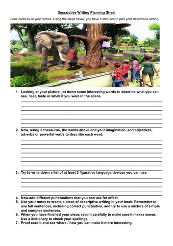 Step by step creative writing / planning worksheet