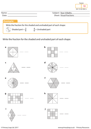 pictorial fractions by cyquiz  teaching resources  tes visual fractions