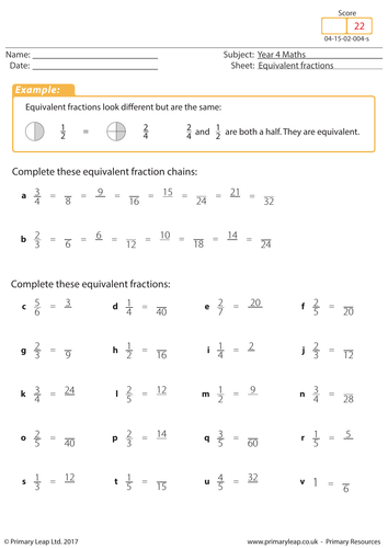 Equivalent Fractions Year 4 By Primaryleap Teaching