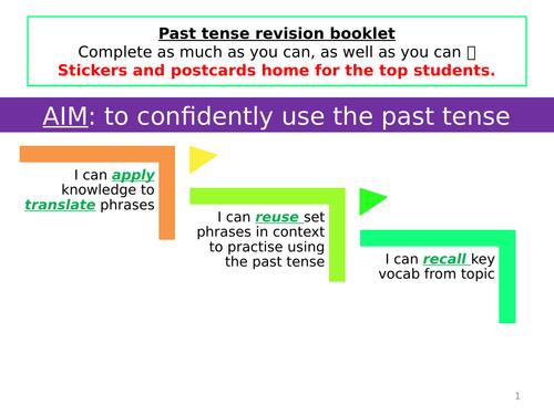 ks3 French LA - Past tense revision - context: SCHOOL/ au collége