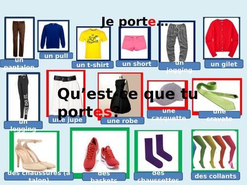 AQA French - Les vetements - Y7