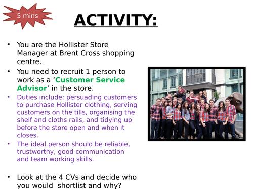 Shortlisting CVs activity