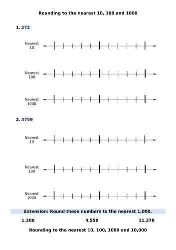 Year 5 / 6 Rounding to the nearest 10, 100, 1000 and 10,000 - Differentiated worksheets