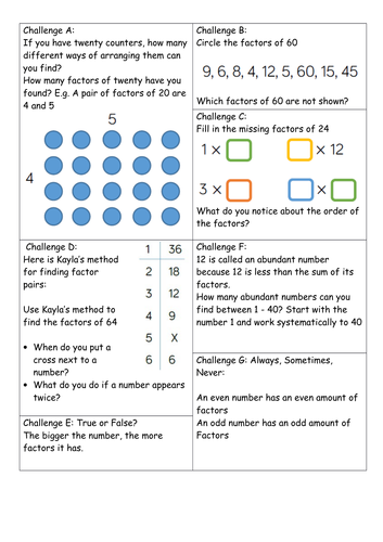 Year 5 Block 4 White Rose Mastery Multiplication and Division Lesson 2 Factors