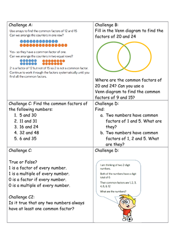 Year 5 Block 4 White Rose Mastery Multiplication and Division Lesson 3 Common Factors
