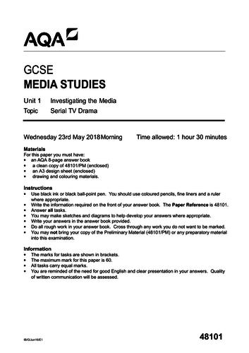 AQA GCSE Serial Television Drama Mock