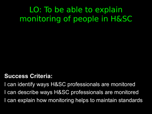 Monitoring Work of People in H&SC (A3) BTEC Health and Social Care Unit 2 Level 3