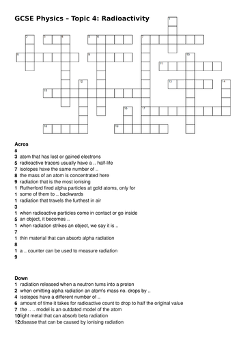 aqa 9 1 gcse science physics radioactivity atomic structure crossword by jeroenvanos. Black Bedroom Furniture Sets. Home Design Ideas