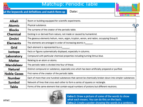 the periodic table definition matchup science starter keywords activity ks3 gcse cover homework by mikedean teaching resources tes