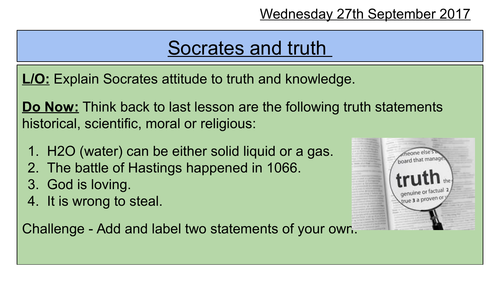 KS3 SOW  RS- Introduction to Greek Philosophy Truth. Fully resourced with Assessment