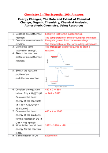 GCSE Chemistry 2 Essential 100 Revision Questions and Answers (New Spec 2018)