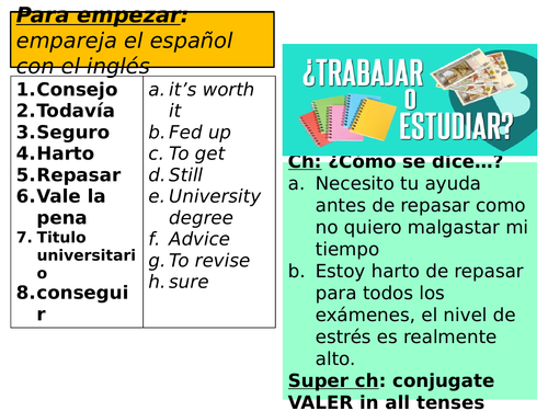 Spanish NEW GCSE - AQA - FULL Unit 12 RESOURCES - ¿Trabajar o estudiar? - WORK/STUDY