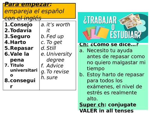 Spanish NEW GCSE - AQA - FULL Unit 12 RESOURCES - ¿Trabajar o estudiar? - WORK/STUDY