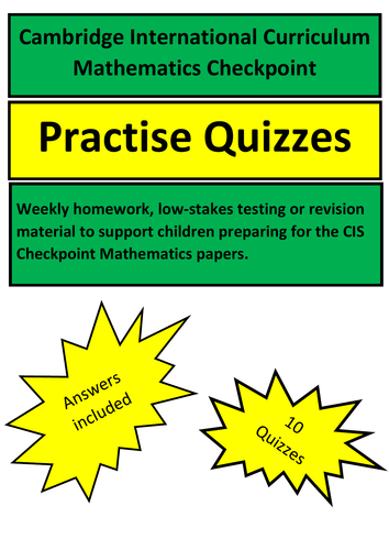 Maths Revision Quizzes Year 6 Cambridge International Curriculum Checkpoint  Exams