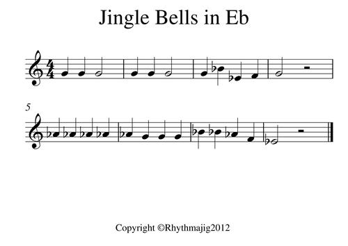 Jingle Bells transposed sheet music