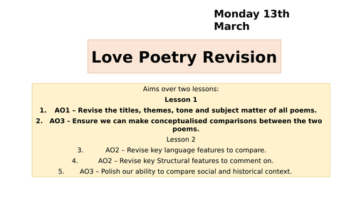 AQA GCSE Relationships poetry - two revision lessons