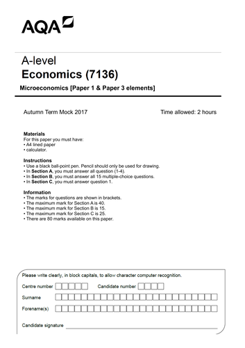 AQA A-level Economics (new spec) Autumn Mock Exam Paper (micro)