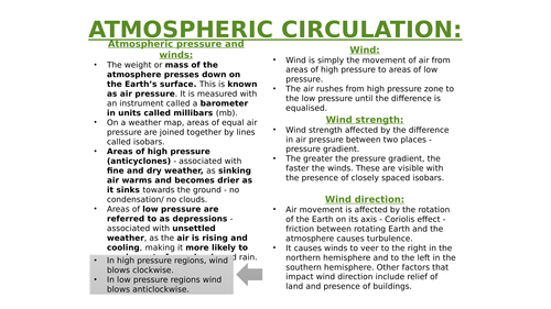 A LEVEL GEOGRAPHY GLOBAL ATMOSPHERIC CIRCULATION MODEL