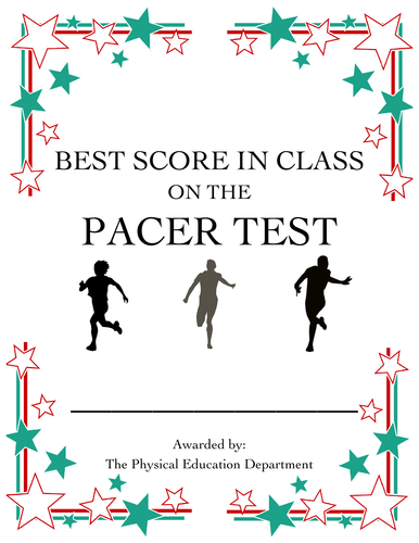 Best in Class Pacer Test Certificate |Fitnessgram Testing Supplement|