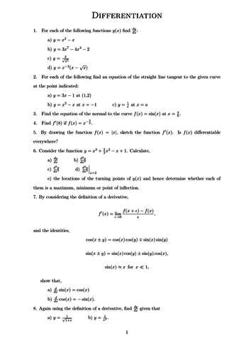 Differentiation A-Level Worksheet