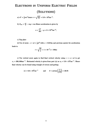 Electrons in Uniform Electric Fields Worksheet