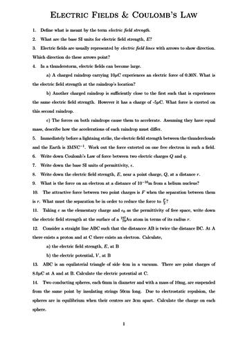 Electric Fields Worksheet