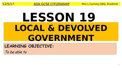 AQA - Local & Devolved government Lesson