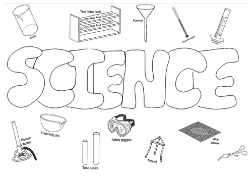Science colouring poster equipment good for Christmas start or end of term