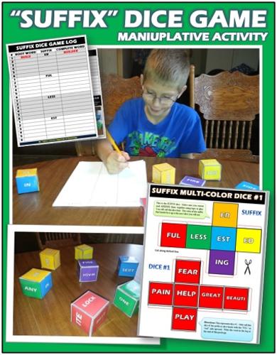 Suffix Classroom Dice Game