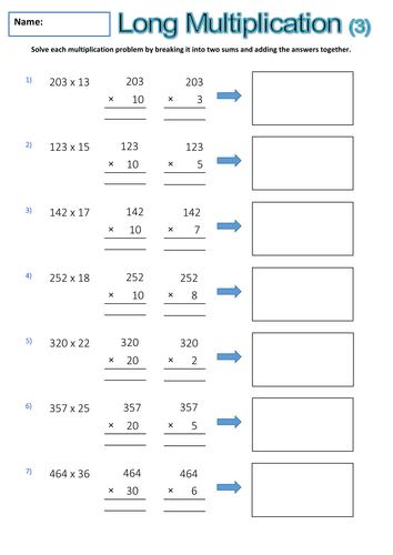 long multiplication worksheets teaching resources. Black Bedroom Furniture Sets. Home Design Ideas