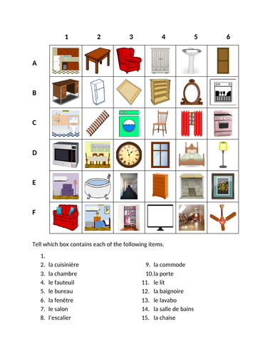 Maison (House in French) Find it Worksheet