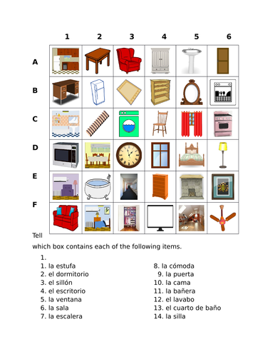 Casa (House in Spanish) Find it Worksheet