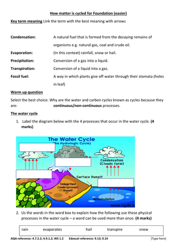 GCSE Ecology new spec Foundation: carbon and water cycles