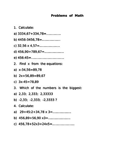 Problems of Math