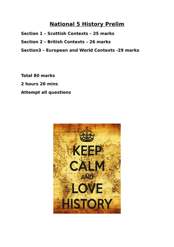 National 5 History Prelim and Marking Scheme