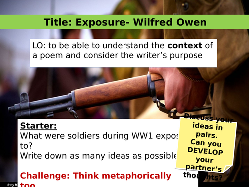 EXPOSURE by Wilfred Owen (Context, Power and Conflict, Analysis)