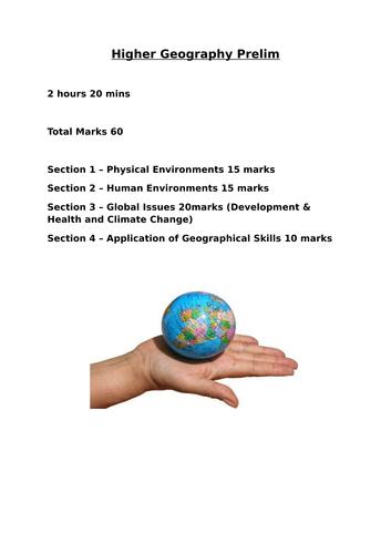 Higher Geography Prelim and Marking Scheme