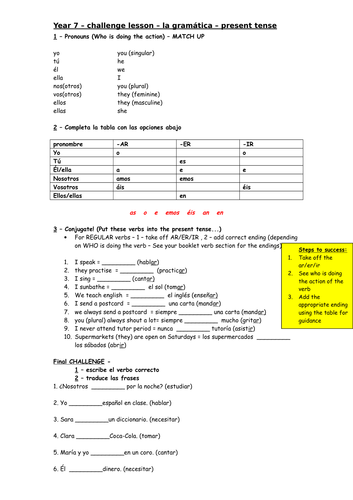 Spanish KS3 - Present tense (regular)  grammar worksheet