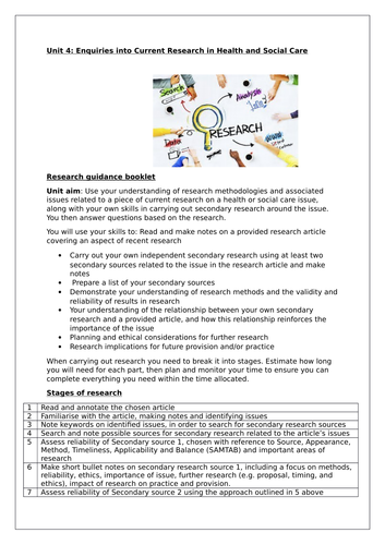Unit 4: Enquiries into research - Revision steps  into researching an article Guidance for students]