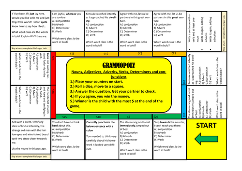 Fun Grammar Board Game: Nouns, adjectives, verbs, adverbs, conjunctions and determiners