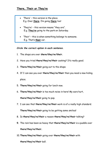 There, Their and They're Worksheet